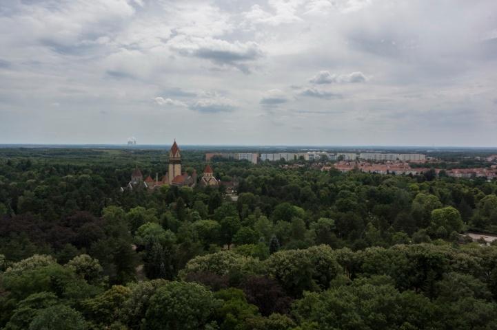 Blick über die Stadt vom Rundgang um die Kuppel des Völkerschlachtdenkmals