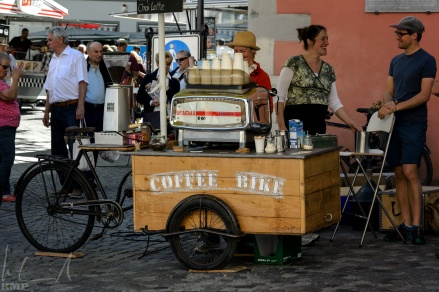 Coffee Bike auf dem Wochenmarkt