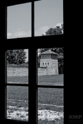 Blick aus einer Häftlingsbaracke