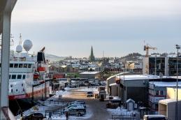 Blick vom Hafen nach Trondheim