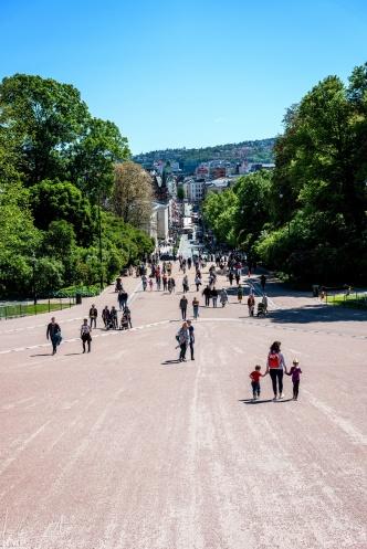 Blick in die Karl Johans gate vom königlichen Schloss aus