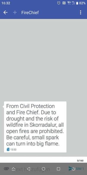 Waldbrand Warnung per SMS